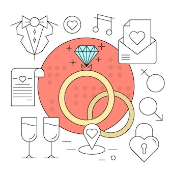 Linear Style Vector Elements Minimal Wedding Icons Set Kleurrijk Ontwerp