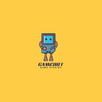 Logo voor video game studio, gele achtergrond