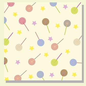 Lollipop en sterren patroon achtergrond