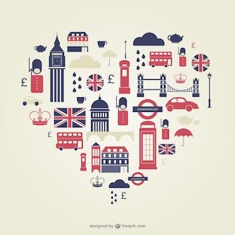 Londen hart vlakke pictogrammen