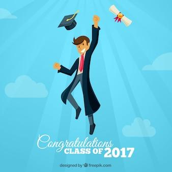 Lucht achtergrond met vrolijke student springen