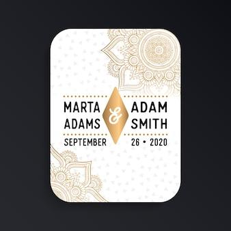 Luxe bruiloft kaart uitnodiging in etnische stijl