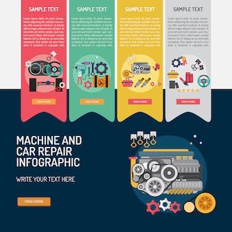Machine en garage infographic ontwerp