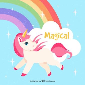 Magische eenhoorn achtergrond met regenboog