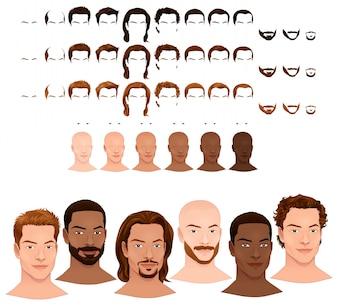 Man avatars 8 kapsels en 3 gezicht haren in 3 verschillende kleuren 6 oogkleuren 6 huidtinten voor meerdere combinaties In dit beeld een aantal geïsoleerde previews Vectordossier objecten
