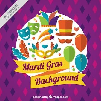 Mardi gras achtergrond met kleurrijke elementen