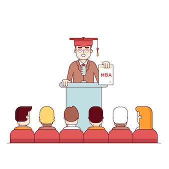 MBA-student afstuderen rostrum speech