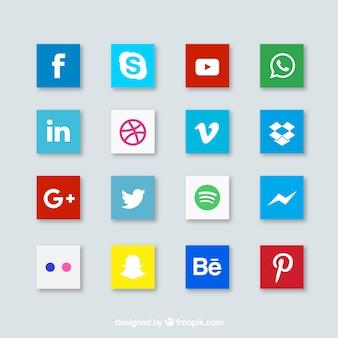 Media icon pack. plat en vierkant.