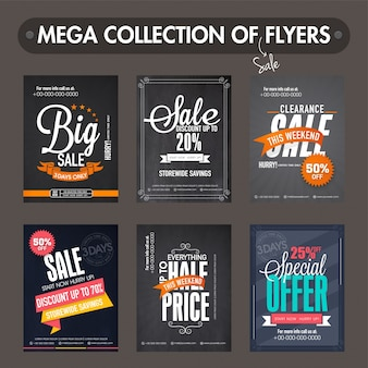 Mega collectie van Big Sale en Discount flyers, sjablonen en banners ontwerp