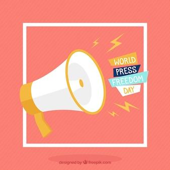 Megafoon achtergrond voor de Dag van de persvrijheid