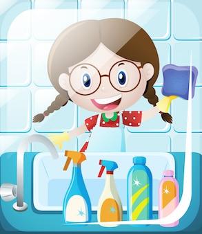 Meisje schoonmaak badkamer wastafel