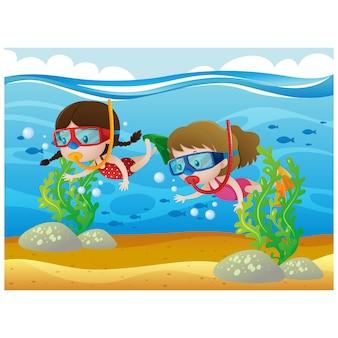 Meisjes duiken achtergrond