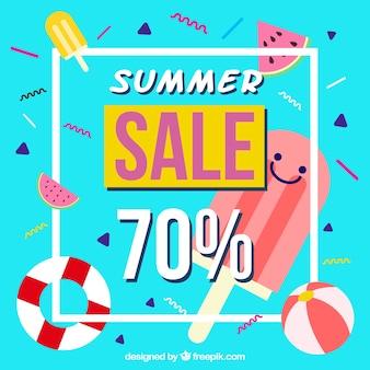 Memphis achtergrond van de zomer verkoop met lekker ijs