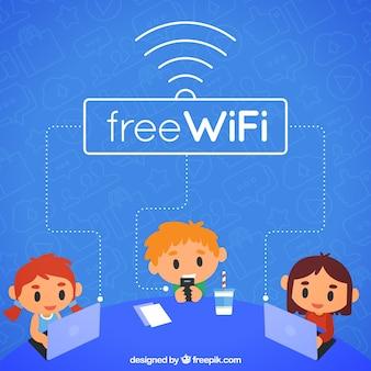 Mensen achtergrond met laptop en gratis wifi