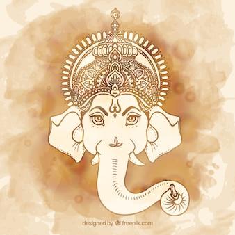 Met de hand beschilderd Ganesha