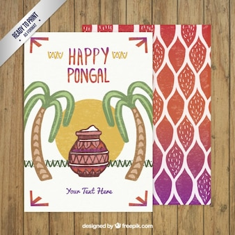 Met de hand beschilderd Gelukkig Pongal kaart