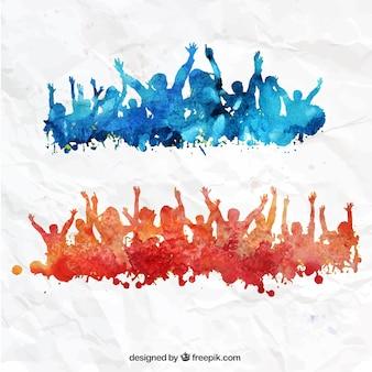 Met de hand beschilderd menigte