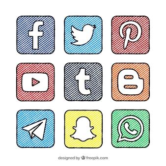 Met de hand beschilderd pleinen en logo's van sociale netwerken collectie