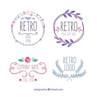 Met de hand beschilderd retro badges