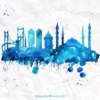 Met de hand beschilderd skyline van Istanbul