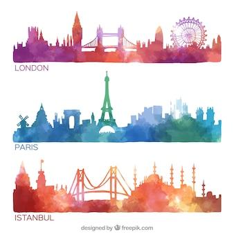 Met de hand beschilderd stad skylines collectie