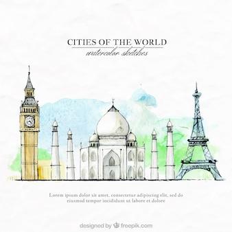 Met de hand beschilderd steden van de wereld