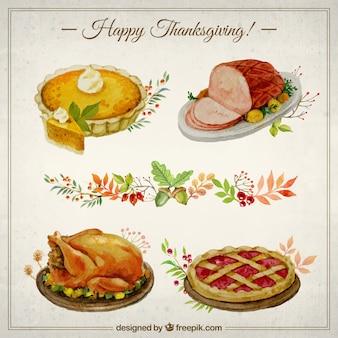 Met de hand beschilderd thanksgving voedsel