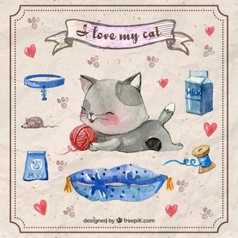 Met de hand geschilderd katje spelen met een bal van wol en accessoires voor huisdieren