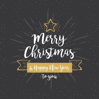 Met de hand getekende achtergrond voor Kerstmis met gouden details