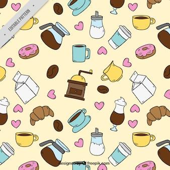 Met de hand getekende patroon met koffie artikelen