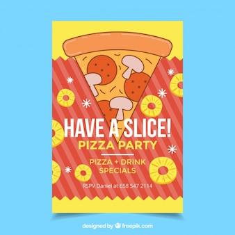 Met de hand getekende pizza slice flyer