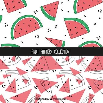 Met de hand getekende watermeloen patronen