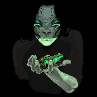 Metamorfose monster kerel met een kikker Vector illustratie