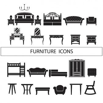 Meubelen iconen collectie