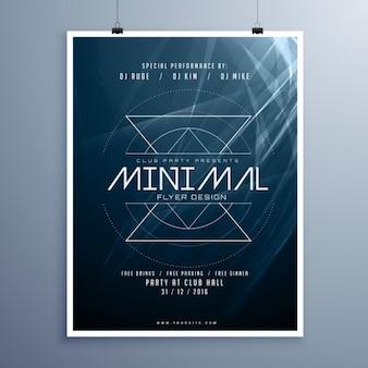 Minimal music elegant flyer sjabloon in blauwe kleur met abstracte glanzende lichten