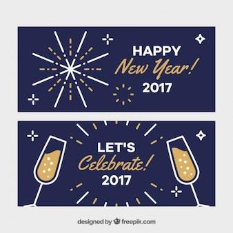 Minimalistische banners voor het nieuwe jaar