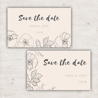 Minimalistische sparen de datumkaarten voor een bruiloft
