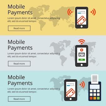 Mobiel betalen website banner set