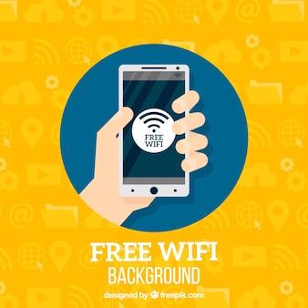 Mobiele achtergrond met gratis wifi