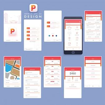 Mobiele app ontwerp met rode elementen