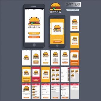 Mobiele applicatie ontwerp met hamburger
