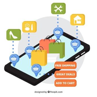 Mobiele telefoon met werkzakken in isometrische stijl