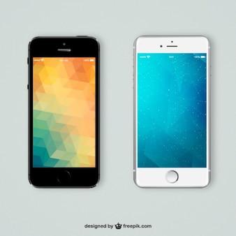 Mobiele telefoons met veelhoekige achtergronden