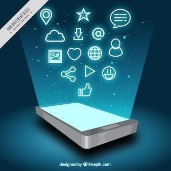 Mobile achtergrond met scherm en iconen