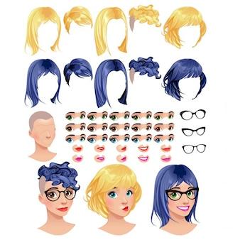 Mode vrouwelijke avatars 5 kapsels in 2 kleuren 5 ogen in 3 kleuren 5 monden in 2 kleuren 3 glazen 1 kop voor meerdere combinaties Enkele previews op de geïsoleerde bodem Vector-bestand voorwerpen