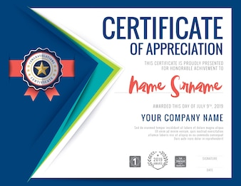Modern certificaat blauwe driehoek vorm achtergrond frame ontwerp sjabloon