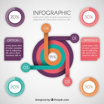 Modern infographic sjabloon met ronde vormen
