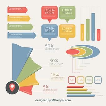Modern pak gekleurde elementen voor infographics
