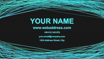 Modern visitekaartjes sjabloon ontwerp - vector bedrijfs grafisch met gebogen lijnen op zwarte achtergrond
