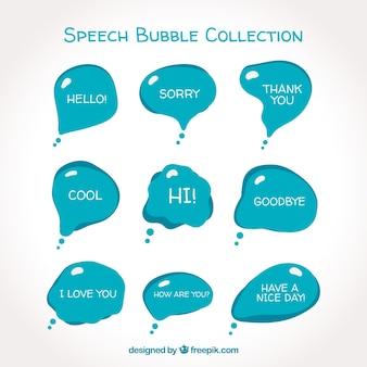 Moderne blauwe spraakbellen collectie